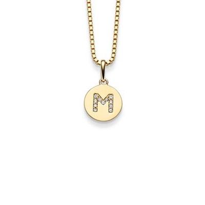 Bokstav gulltags - M - leveres uten kjede