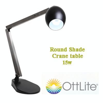 Ott-Lite Round Shade Crane Retro 15WHD/60W bordlampe sort