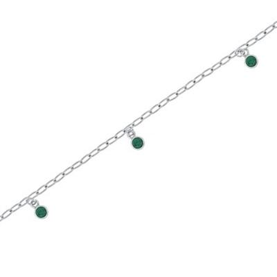 Fotlenke i sølv 23+3cm med grønne zirkonia