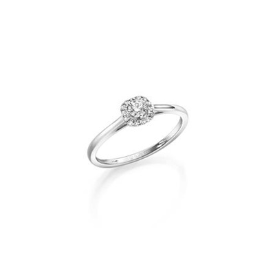 hv.gull frierring med diamant 0,20 ct W/SI
