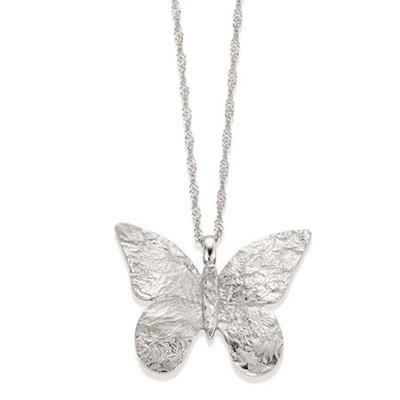 Sommerfugl  anheng i sølv,45cm kjede