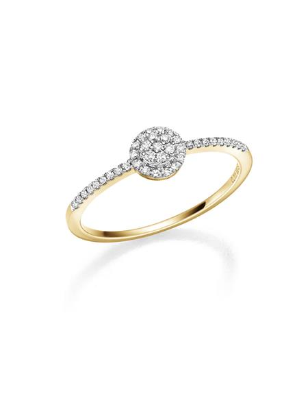 gult gull frierring med diamant 0,11 ct W/SI