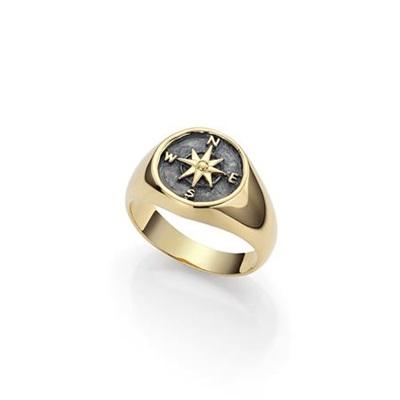 Kompass forgylt ring i sølv