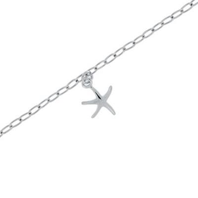 Fotlenke i sølv 23+3cm med sjøstjerne