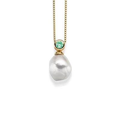 Mia Forgylt anheng i sølv med barokk perle 45cm