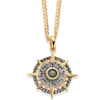 Kompass Forgylt anheng i sølv med 50cm kjede