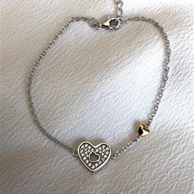 GD  sølv armbånd forgylt 16,5+2 cm