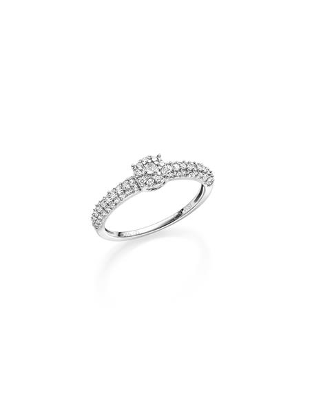 hv.gull frierring med diamant 0,50 ct W/SI