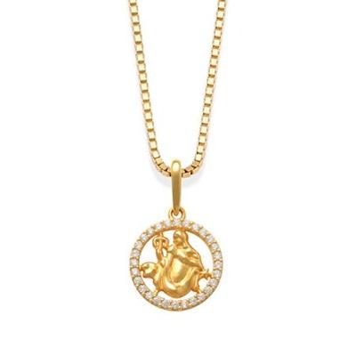 Stjernetegn Jomfruen anh i gull m/zirk,uten kjede