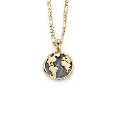 Worldmap forgylt anheng i sølv med 50cm kjede