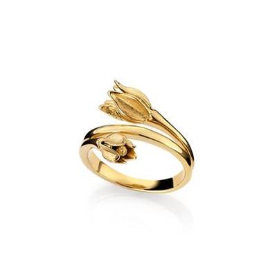 Blomsterklokke ring i forgylt sølv
