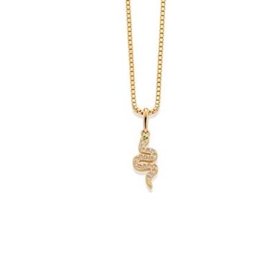 GD 1370 Snake Anheng i gull med zirkonia, 42cm kjede