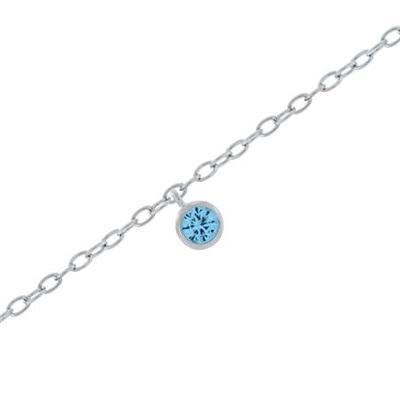 Fotlenke i sølv 23+3cm med lys blå zirkonia