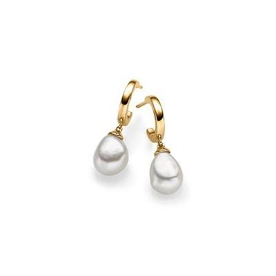 Emma Forgylt ørepynt i sølv med barokk perler