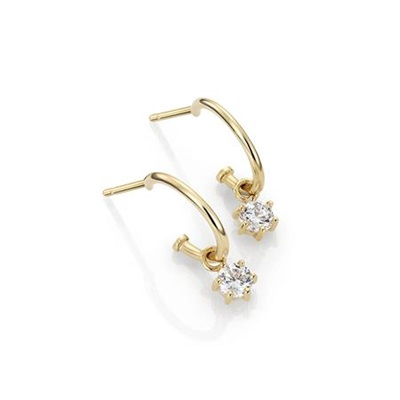 GD 1370 Shine øreringer i gull med hengende zirkonia