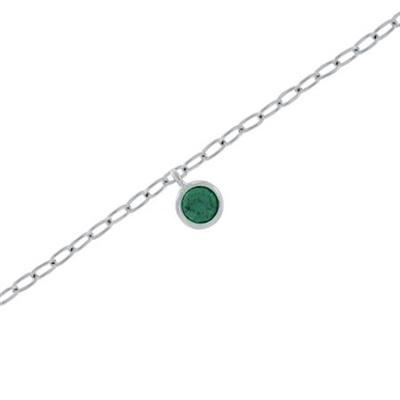 Fotlenke i sølv 23+3cm med grønn zirkonia