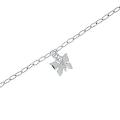 Fotlenke i sølv 23+3cm med sommerfugl