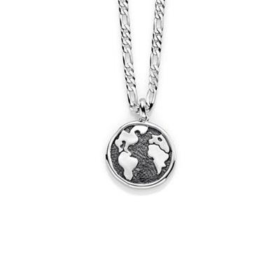 Worldmap Anheng i sølv med 50cm kjede