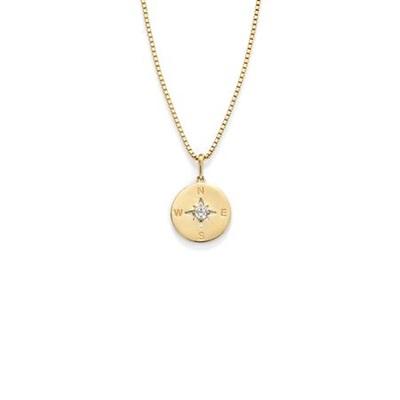 Kompass anheng i gull med 45cm kjede