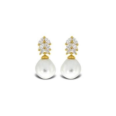 Bella Forgylt ørepynt i sølv med barokk perler