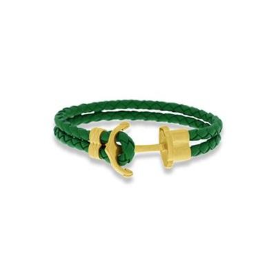 Skinnarmbånd med stålanker, grønn 18cm