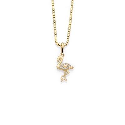 GD 1370 Flamingo anheng i gull med zirkonia, 42cm kjede