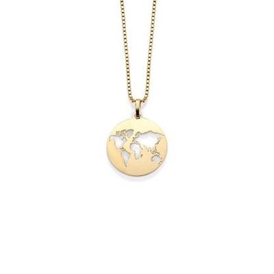 Worldmap anheng i gull med 45cm kjede