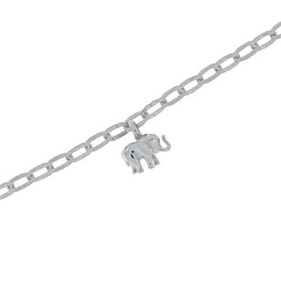 Lykkeelefanten Armbånd i blank sølv 17,5+4cm