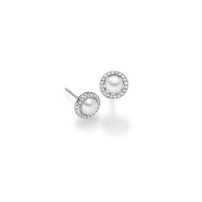 Ørepynt i sølv med zirk og fv.perle Ord.pris 595,-