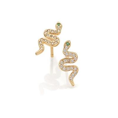 GD 1370 Snake Ørepynt i gull med zirkonia