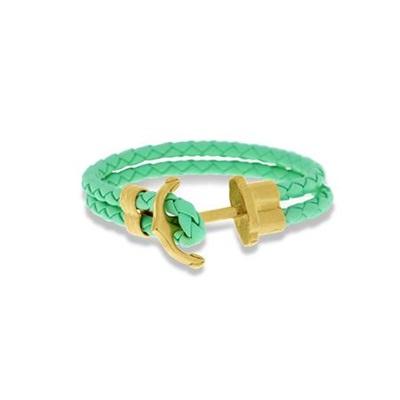 Skinnarmbånd med stålanker, lys grønn 18cm