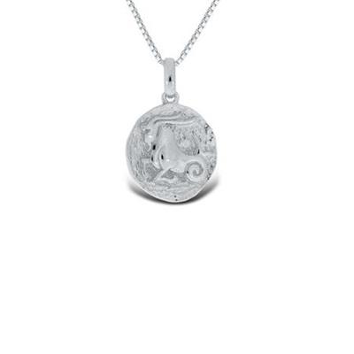 Steinbukken Lykketegn i sølv 22.desember-19.jan 45cm