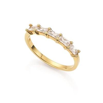 Thea Forgylt ring i sølv med zirkonia