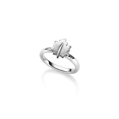 Lønneblad sølv ring