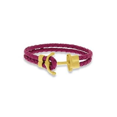 Skinnarmbånd med stålanker, rosa 18cm