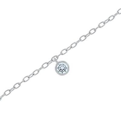 Fotlenke i sølv 23+3cm med med hvit zirkonia