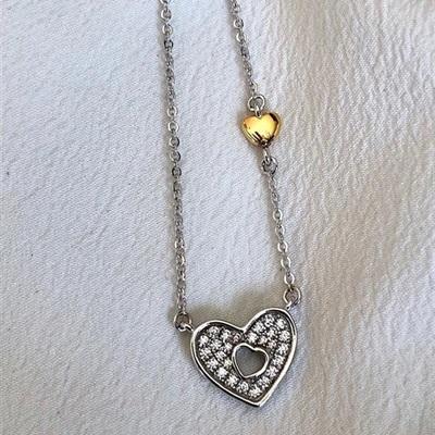 GD  Anheng  i sølv m/forgylt hjerte 42+3cm