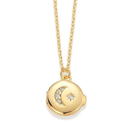 MustHave Gullbelagt locket anheng i messing med 40+5cm kjede
