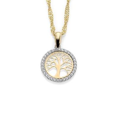 GD 1370 Tree of life anheng  i gull med zirkonia, 45cm kjede