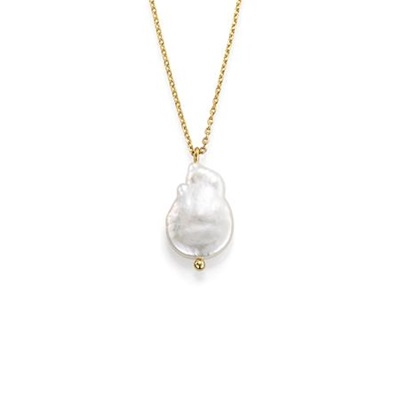 MustHave Gullbelagt anheng i messing med barokk perle,40+5cm