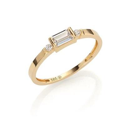 GD 1370 Kaja Ring i gull med zirkonia