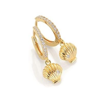 GD Seashell Forgylte øreringer i sølv med zirkonia stener