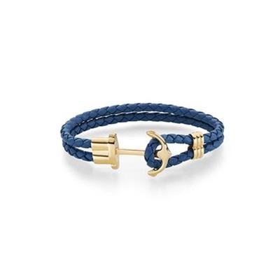 Skinnarmbånd med stålanker, blått 18cm