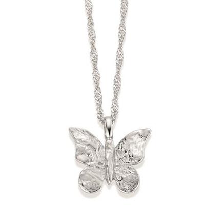 Sommerfugl  anheng i sølv,42cm kjede