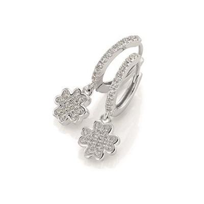 GD Clover leaf Øreringer i sølv med zirkonia stener