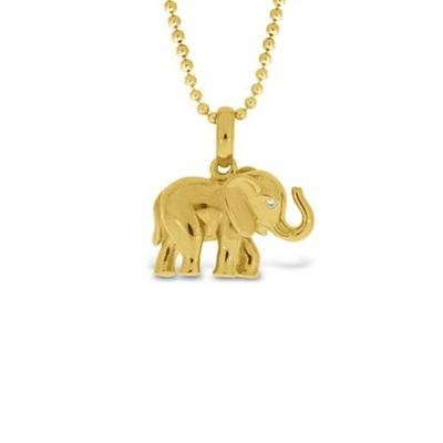 Lykkeelefanten Blank Forgylt anheng i sølv 80cm
