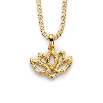 Lotusblomst anh i forgylt sølv, 45 cm