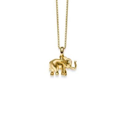 Lykkeelefanten Forgylt anheng i sølv 42cm kjede