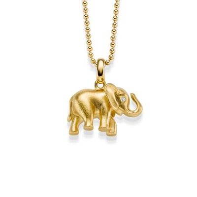 Lykkeelefanten Forgylt anheng i sølv 80cm kjede