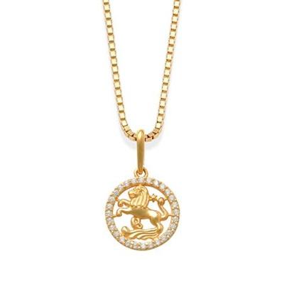 Stjernetegn Løven anh i gull m/zirk, uten kjede